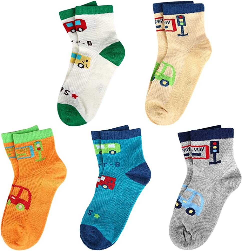 Unisex Casual Mesh Socks for Boys Girls 5 Pack VBG VBIGER Kids Fashion Cotton Crew Socks