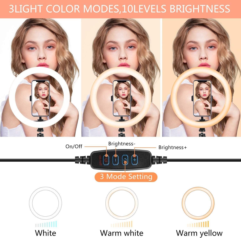 Kemier Luz de Anillo LED 10 fotogr/áfica de Escritorio Youtube Maquillaje Tr/ípode con Soporte Giratorio de tel/éfono para Selfie TIK Tok 3 Colores 10 Brillos Regulables Control Remoto Bluetooth