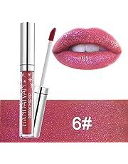 Anself HANDAIYAN Glitter Flip Rossetto antiaderente Diamond Shining Lip Gloss Shimmer Iridescent