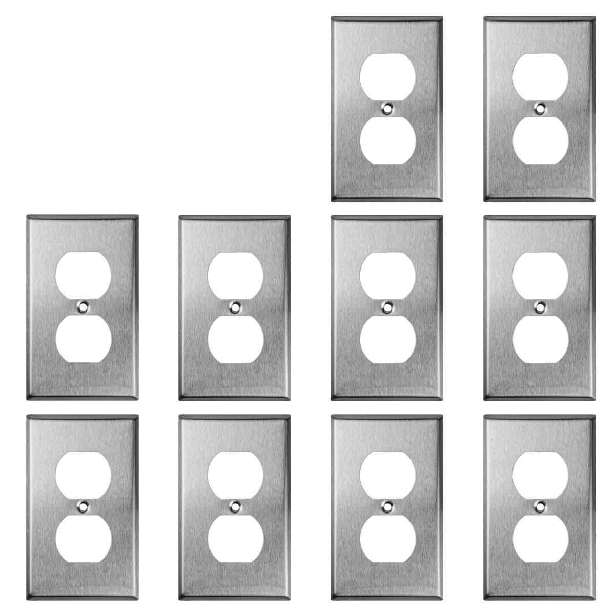 TOPELE 1-Gang Duplex Receptacle Stainless Steel Wall Plate, Cover Plate for Home & Workplace Decor with Screw, Standard Size (Pack of 10)