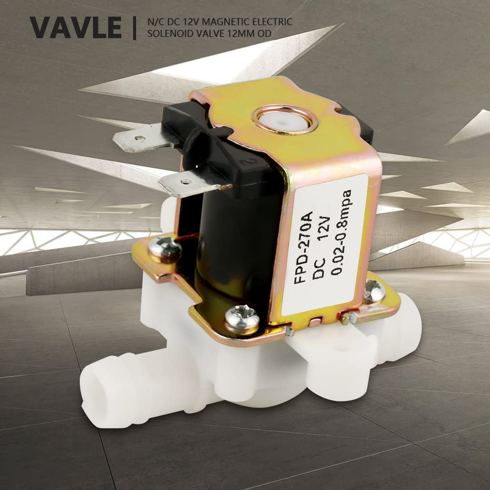 Jadpes Water Inlet Valve,DC12V OD12mm Plastic Electromagnetic Valve Normally Closed Water Inlet Flows Switch Outer Diameter 3//812V Electric Solenoid Valve