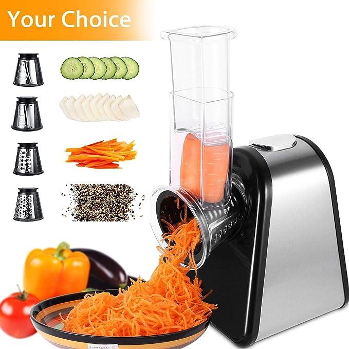 Meykey - Rallador eléctrico para ensalada con 4 cuchillas de cono ...