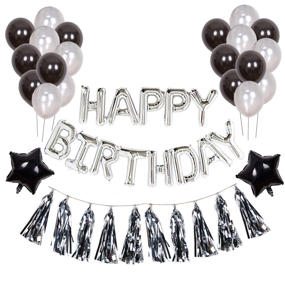 Toupons Black and Silver Birthday Party Decorations, HAPPY BIRTHDAY Letter Balloons Banner 20 Pcs Latex Balloons 2 Pcs Star Foil Balloons and 10 Pcs Foiled Tassel Garland for Men Party Supplies