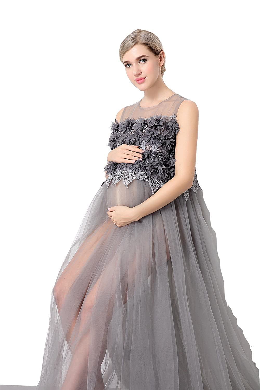 Women's See Through Mesh Sleeveless Gown Maxi Maternity Dress for Photo Shoot Gray Hopeverl