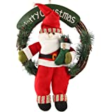 D-FantiX Santa Claus Christmas Wreath, 14 Inch Merry Christmas Front Door Wreaths Small Christmas Decorations Home Decor