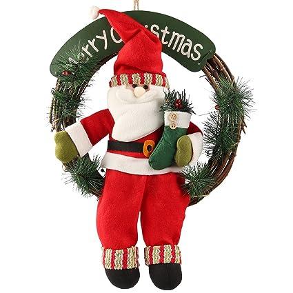 d fantix santa claus christmas wreath 14 inch merry christmas front door wreaths small - Small Christmas Door Decorations