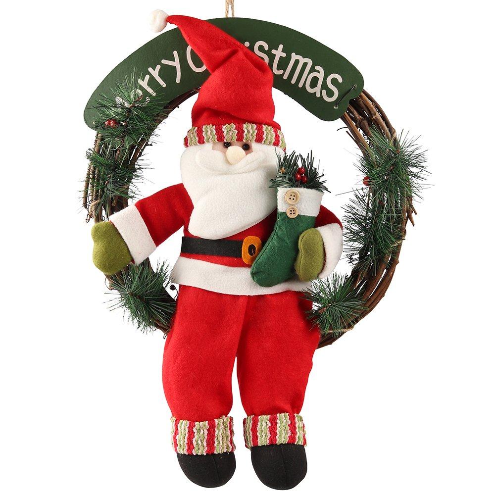 D-FantiX Santa Claus Christmas Wreath, 14 Inch Merry Christmas Front Door Wreaths Small Christmas Decorations Home Decor