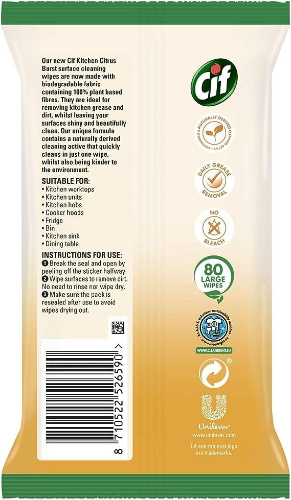 Cif Kitchen Citrus Burst 100 Percent Biodegradable Plant Fibres Wipes 80 Large Wipes 1 Pack