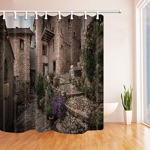 "Rustic Wooden Wall Pattern Waterproof Fabric Bathroom Shower Curtain /& Hooks 71/"""