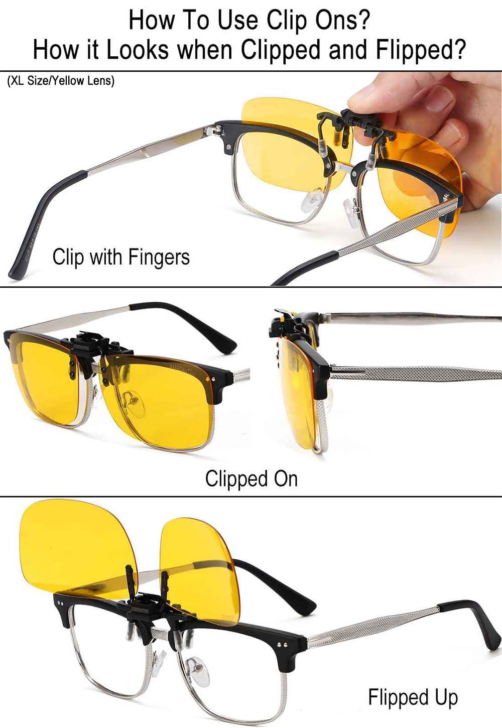 d7e2e3c8d2 JESSIEDANTON HD Night Vision Polarized Clip-on Flip Up Metal Clip Rimless  Sunglasses