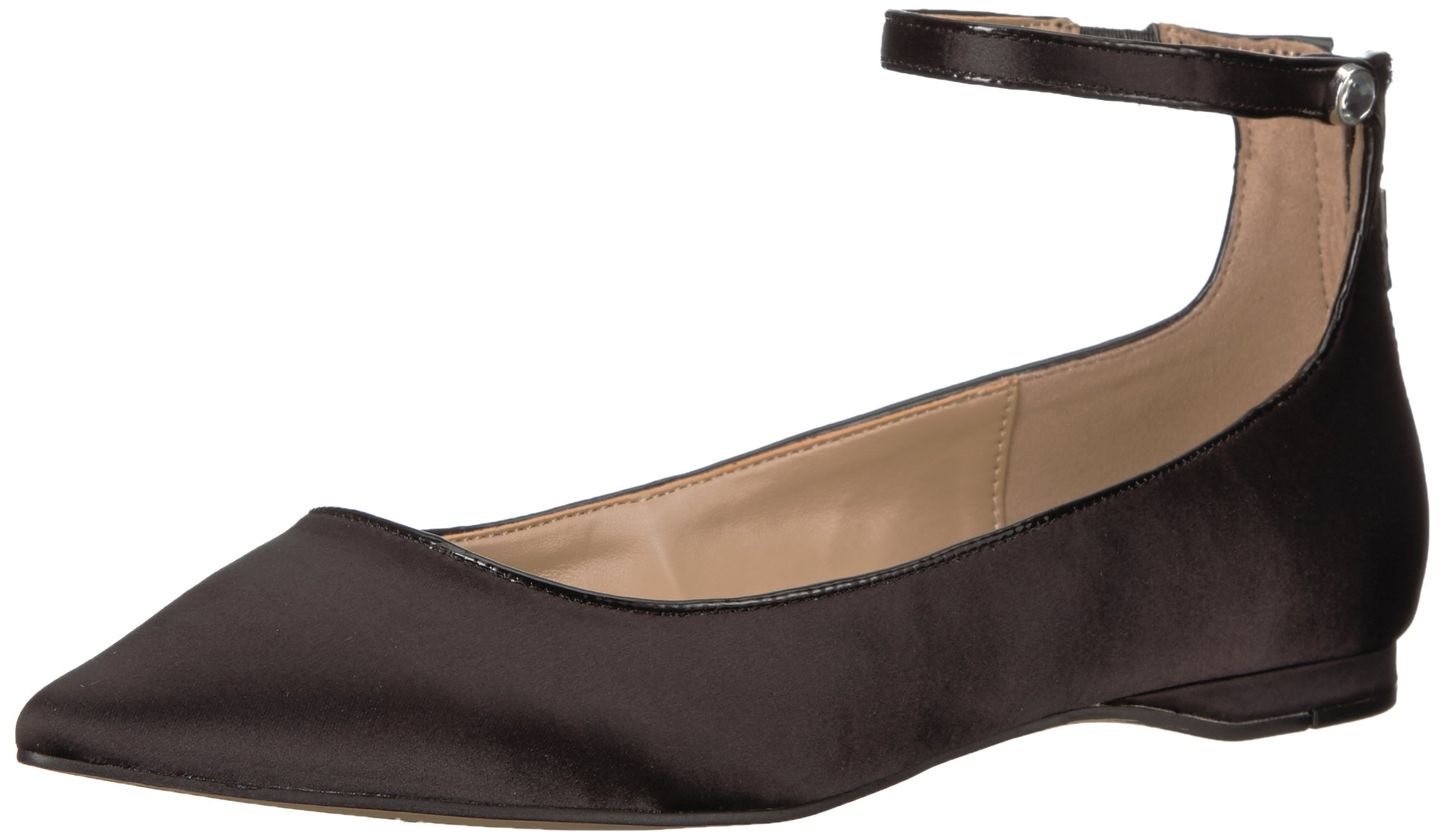 The Fix Women's Evie Military-Inspired Ankle Strap Pointed-Toe Flat, Black, 6.5 B US