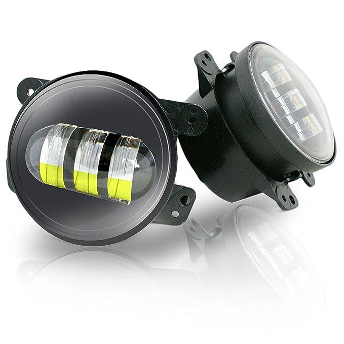 """2 opinioni per 2x 30W 4"""" Rotondo Anteriore Faro Fendinebbia LED Luce di Nebbia fuoristrada Faro"""