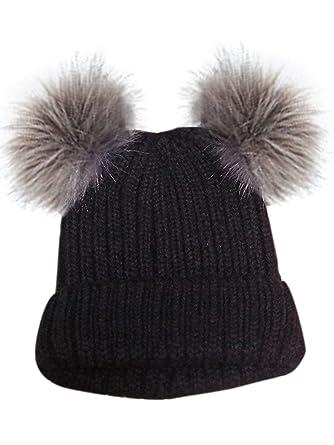93bb1a3d5b6 Joeoy Women s Winter Warm Chunky Knit Double Pom Pom Beanie Hat Ski Cap( Black)