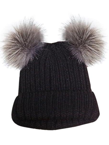 bb0581b811e Choies Women s Cute Black Knitted Pom Pom Beanie Hat Double PomPom ...