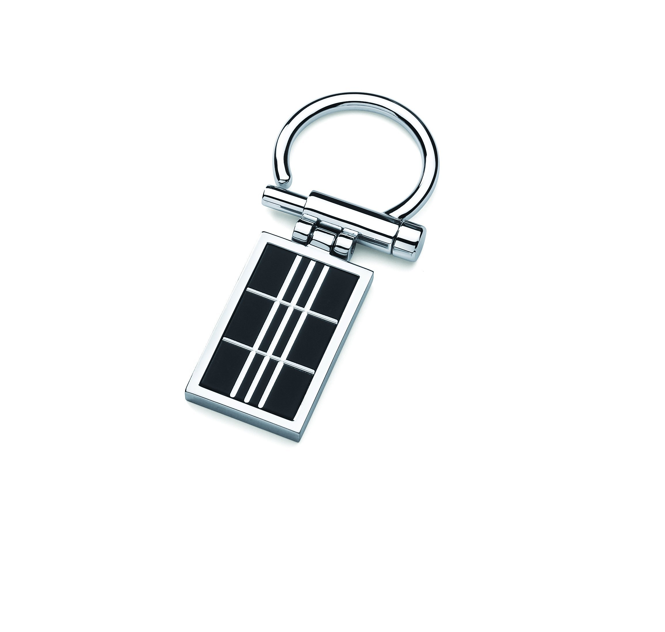 Men's Stainless Steel Key Chain With Black Matte Accent
