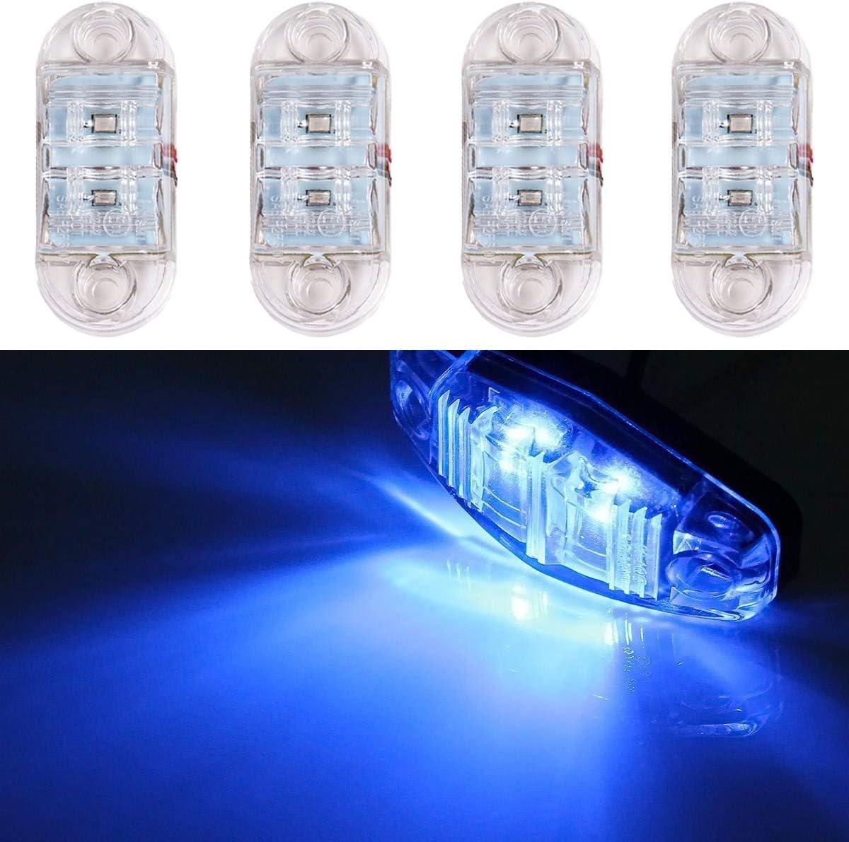 WildAuto Side Marker LED Lights for Trucks,12V 24V Clear 2.5inch Trailer Lights for Van Caravan Lorry Car Bus