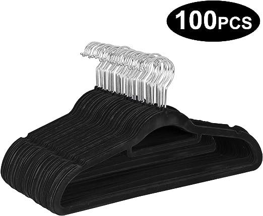 Pack of 50 Ultra Thin Non Slip Velvet Pants Hangers Space Saving Skirt Clothes Hangers ZENY Velvet Hangers with Clips