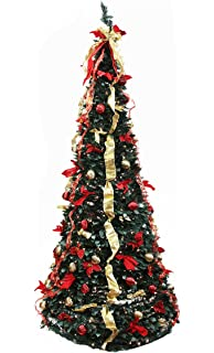 northlight 31464144 pre lit pop up decorated redgold artificial christmas tree with clear - Pull Up Christmas Tree