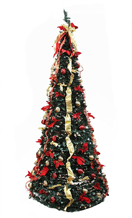 Pre Lit Christmas Tree That Puts Itself Up.Rich Pacific 6 Pre Lit Pop Up Decorated Red Gold Artificial Christmas Tree Clear Lights