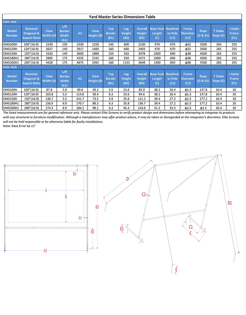 amazon com elite screens yard master series 200 in 16 9