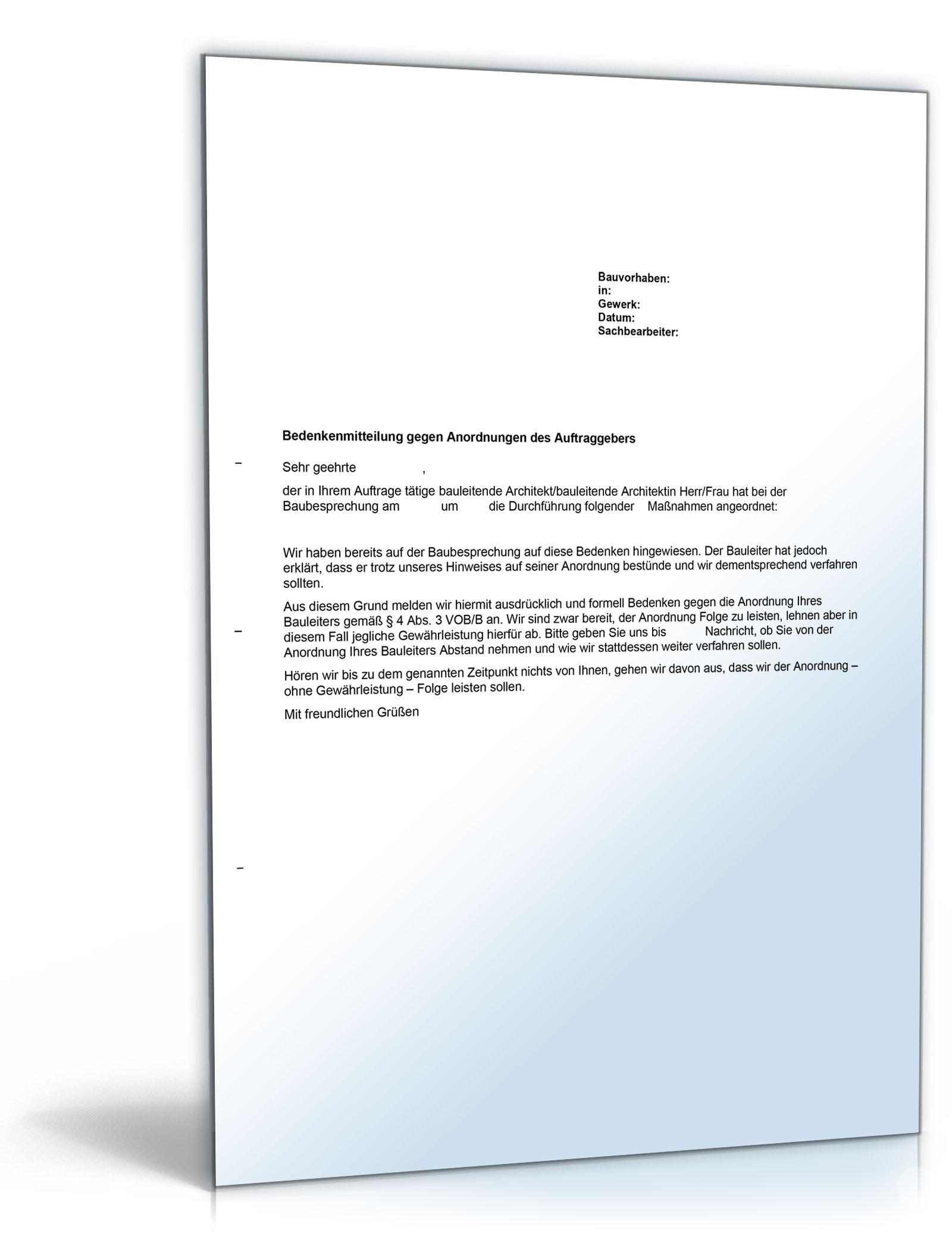Bedenkenanmeldung Gegen Anordnung Des Auftraggebers Vob Word