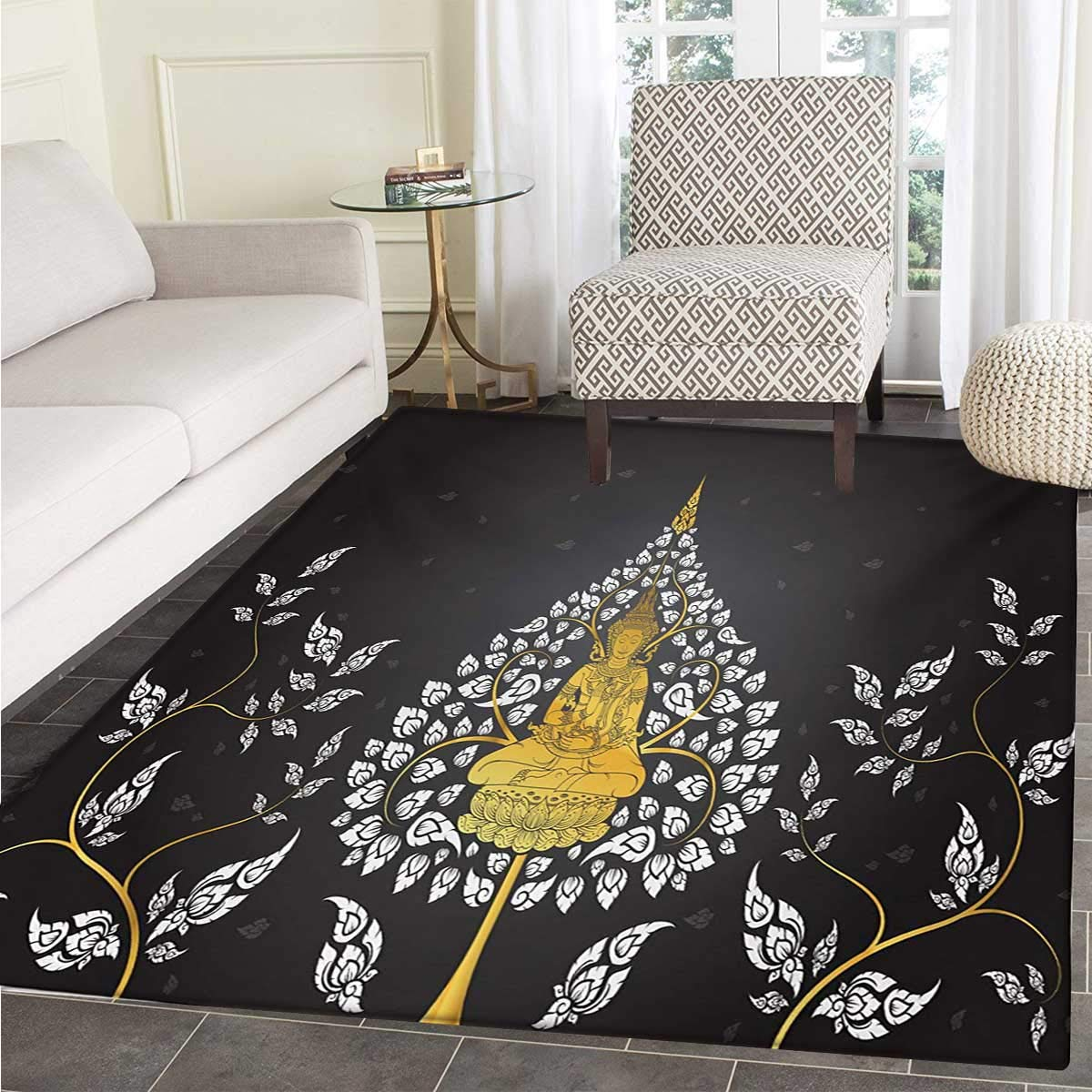 Asian Bath Mat tub Ancient Religious Thai Character Floral Elements Meditation Door Mats Inside Bathroom Mat Non Slip Backing 30''x40'' Charcoal Grey White Yellow
