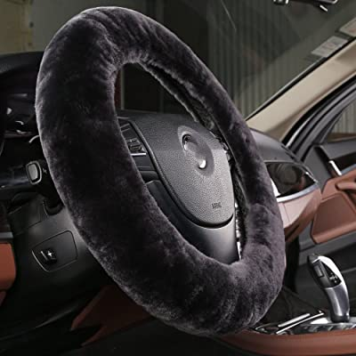 OGLAND Natural Fur Wool Sheepskin car Steering Wheel Cover,Protector for Universal Steering Wheel 35CM-42CM, Anti-Slip,Comforting and Luxurious, Soft Texture (Carbon Black): Automotive