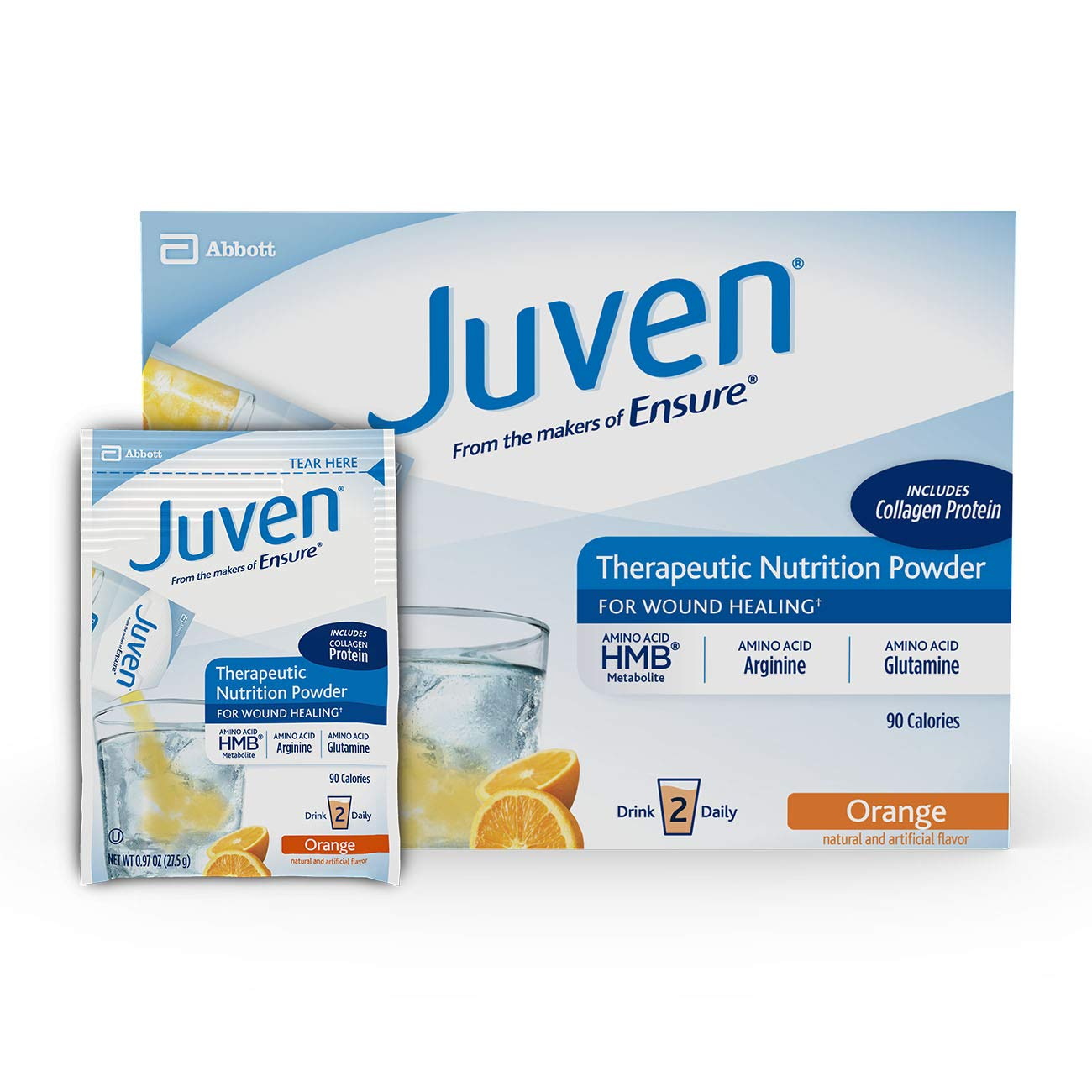 Juven Therapeutic Nutrition Drink Mix Powder for Wound Healing Includes Collagen Protein, Orange, 30 Count by Juven