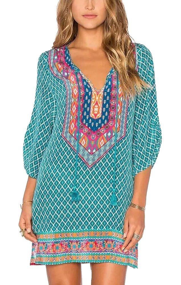 Urban CoCo Women Bohemian Neck Tie Vintage Printed Ethnic Style Summer Shift Dress (XL, Pattern 18)