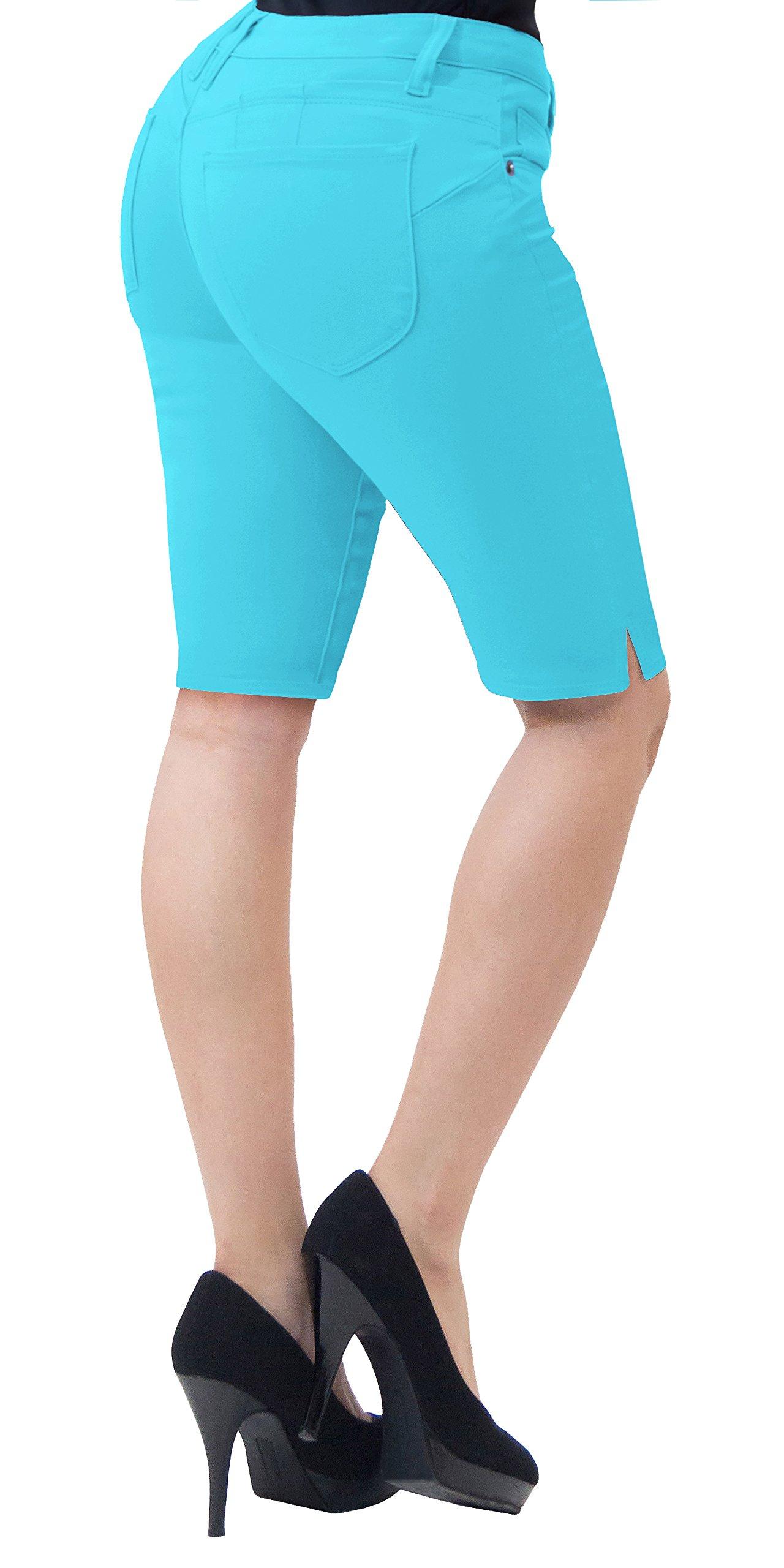 Super Comfy Stretch Bermuda Shorts B43302X Aqua 18