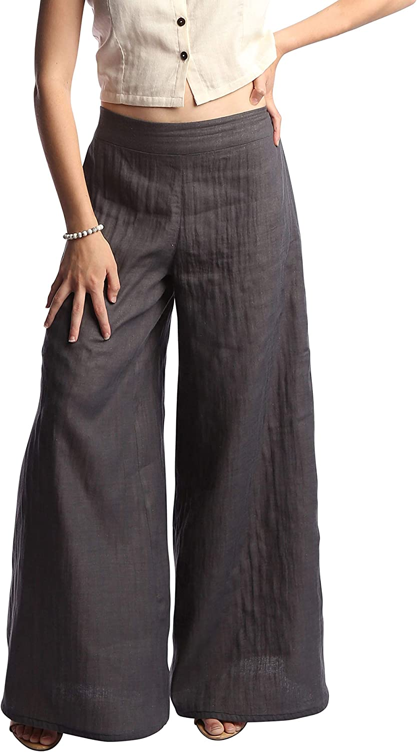 Tropic Bliss Women's Fall Palazzo Pants, Organic Cotton, Office Casual Trousers for Women