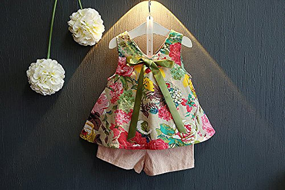 Younger star Girls Summer Outfit Clothes Floral Vest T-Shirt+Shorts Pants Outfits