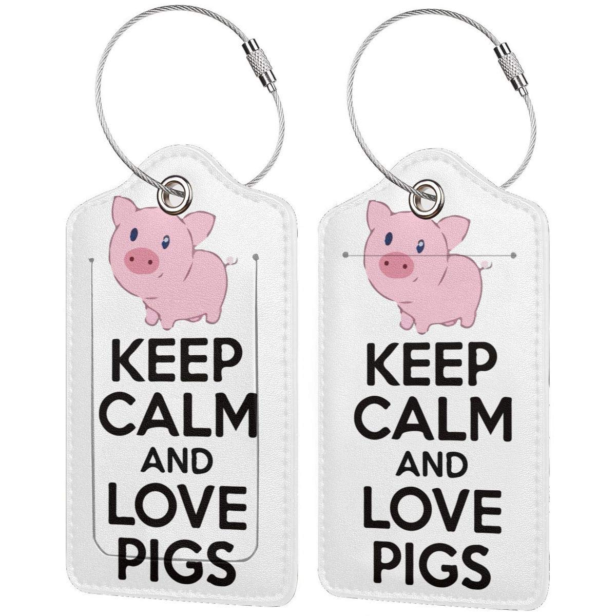 Keep Calm And Love Pigs Travel Luggage Tags With Full Privacy Cover Leather Case And Stainless Steel Loop