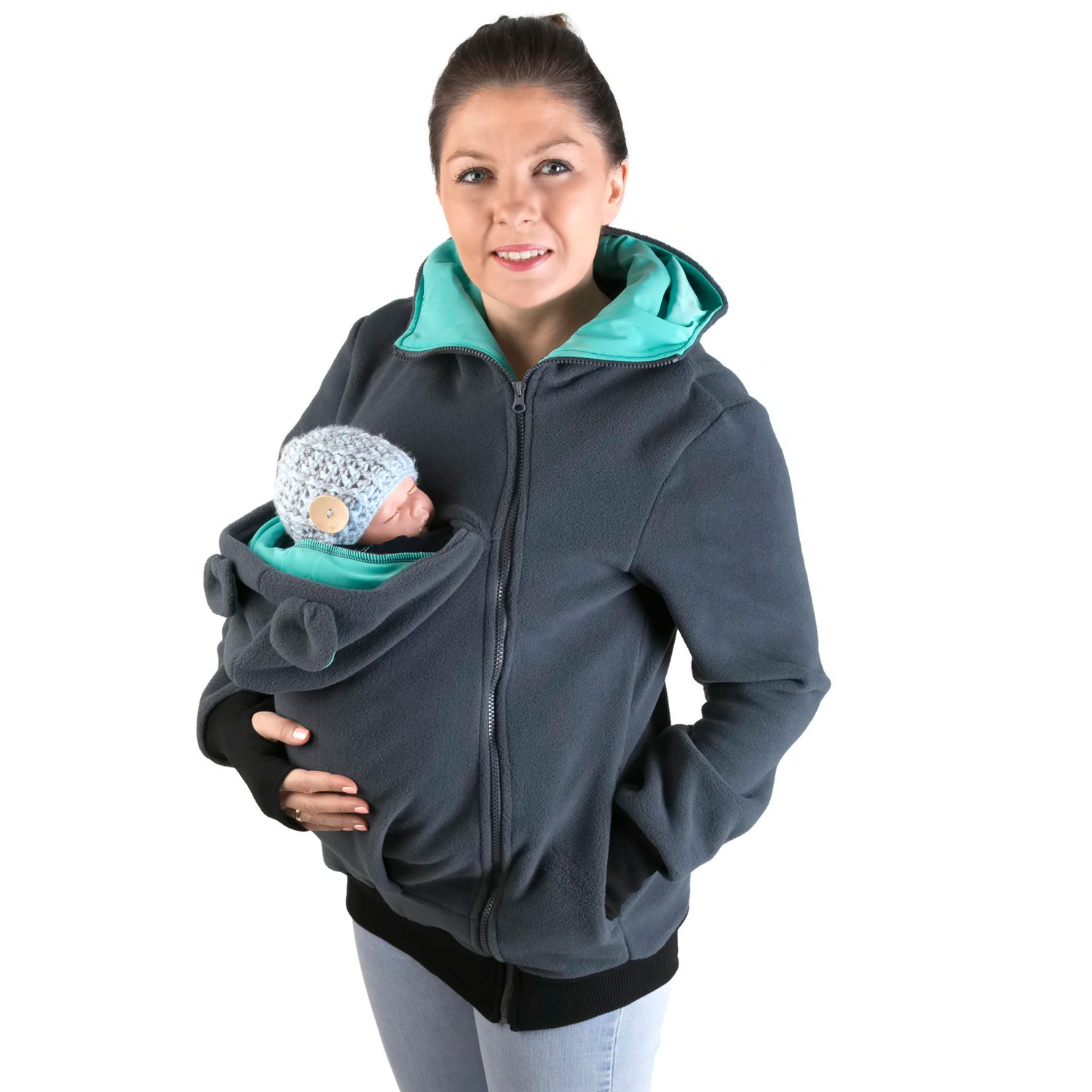 FUN2BEMUM Babywearing Warm Polar Fleece, Hoodie/Pullover for Two/for Baby Carriers Graphite/Teal (XXL - US14)