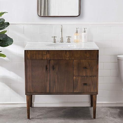 SJ Collection Harper 36 in. Modern Style Single Sink Bathroom Vanity, Brown