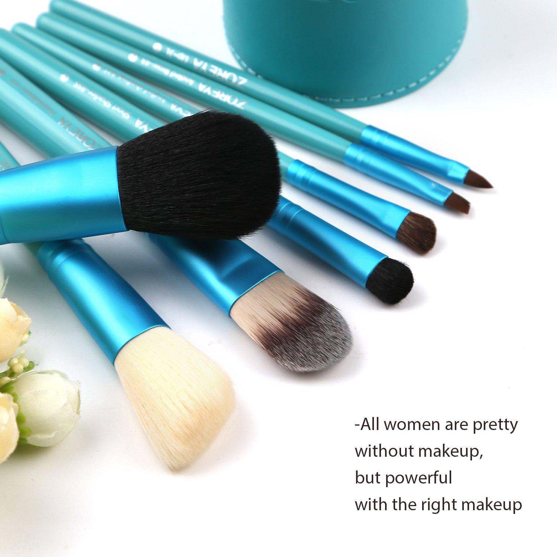 blue makeup brushes. amazon.com: makeup brush set blue cone- 7 zoreya professional brushes with premium synthetic fiber and free luxury case kit: beauty
