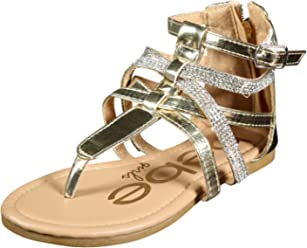 bebe Girls Metallic Gladiator Sandals with Rhinestone Straps (Little Kid/Big Kid)