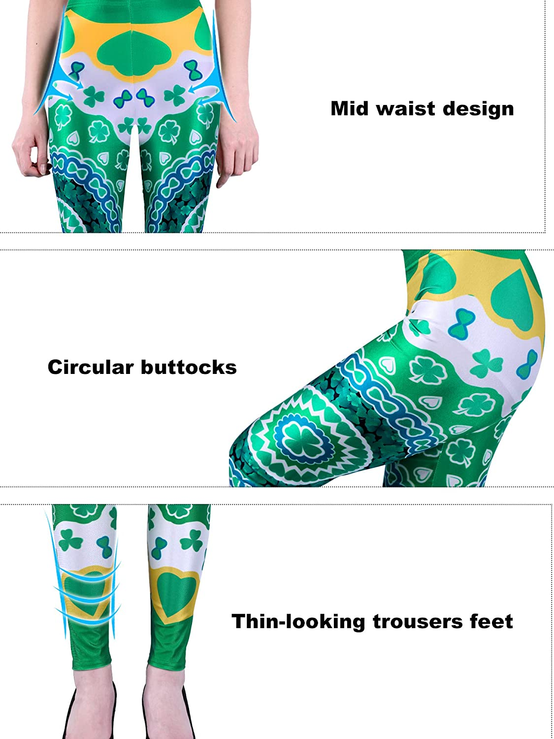 Chuangdi St Color 9, XL Patricks Day Leggings Irish Stretchy Tights Women Holiday Costume Tights for Irish Party Favor