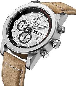 Megir Sport Watch For Men Analog-Digital Genuine Leather - J1637WBR-M21