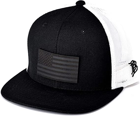 OSFA//Black//White Branded Bills /'The BB/' Leather Patch Hat Flat Trucker