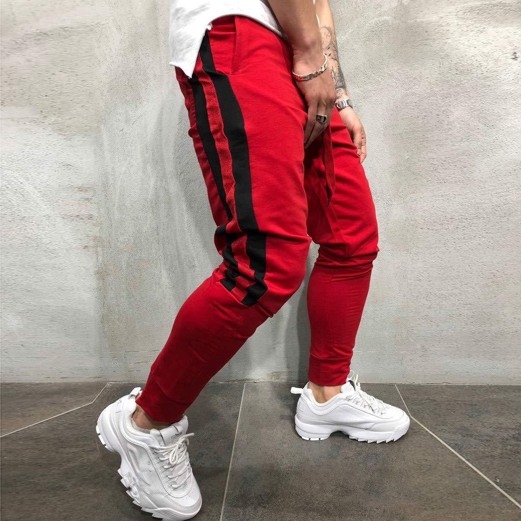 NDGDA Men Fashion Cargo Sport Casual Drawstring Pants Cotton Trousers Mens Drawstring Joggers