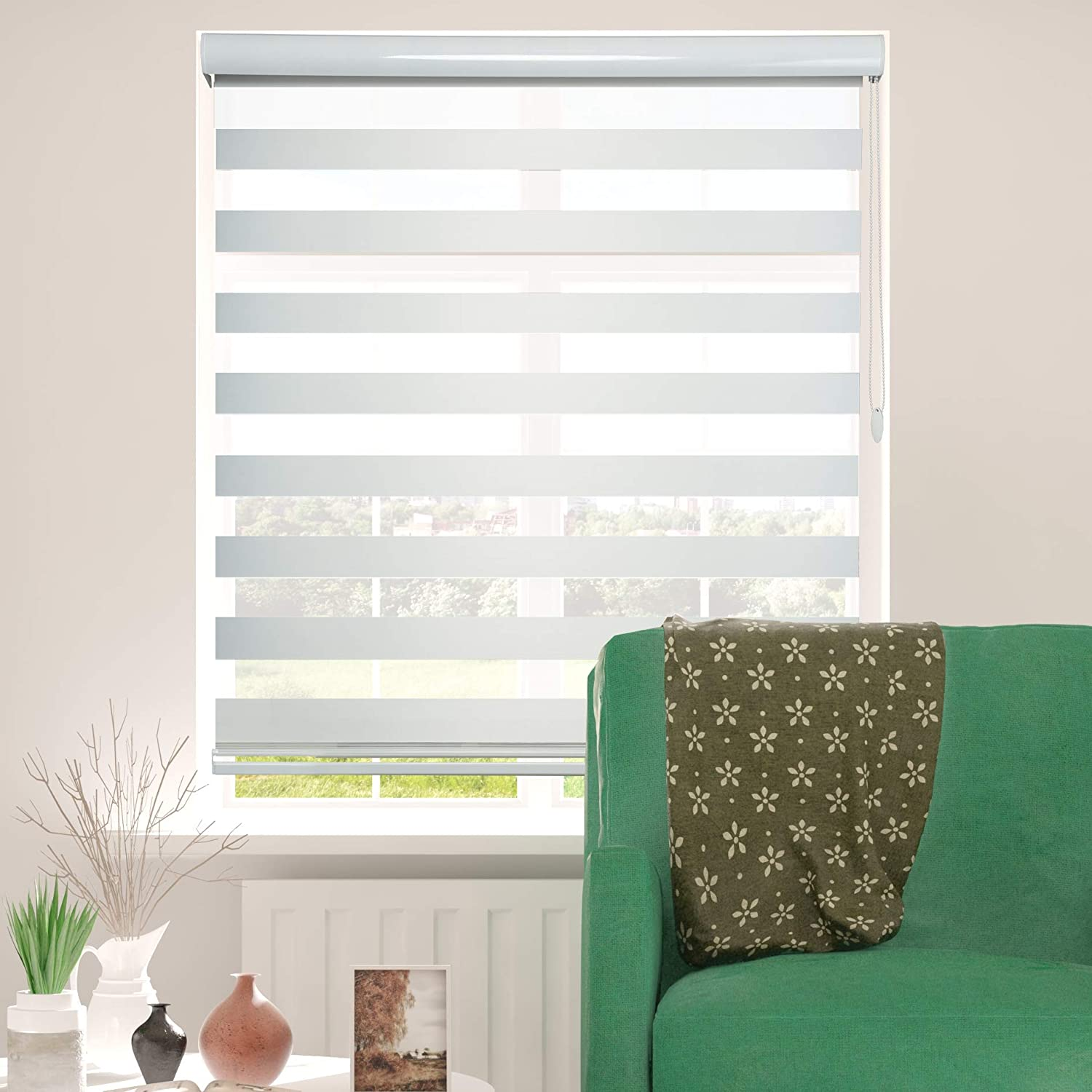 ShadesU Zebra Dual Layer Roller Sheer Shades Blinds Light Filtering Window Treatments Privacy Light Control for Day and Night (Maxium Height 72inch) (White Color) (Width 34inch)