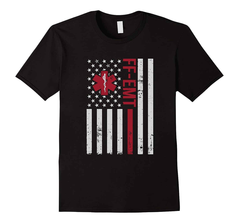 FF-EMT Firefighter Emergency Medical Tech USA Flag T-Shirt-T-Shirt