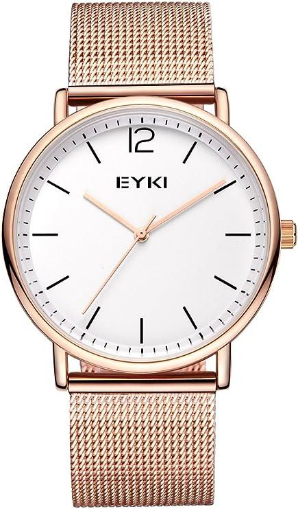 Alienwork EYKI Reloj Mujer Relojes Cuarzo niños Purpurina