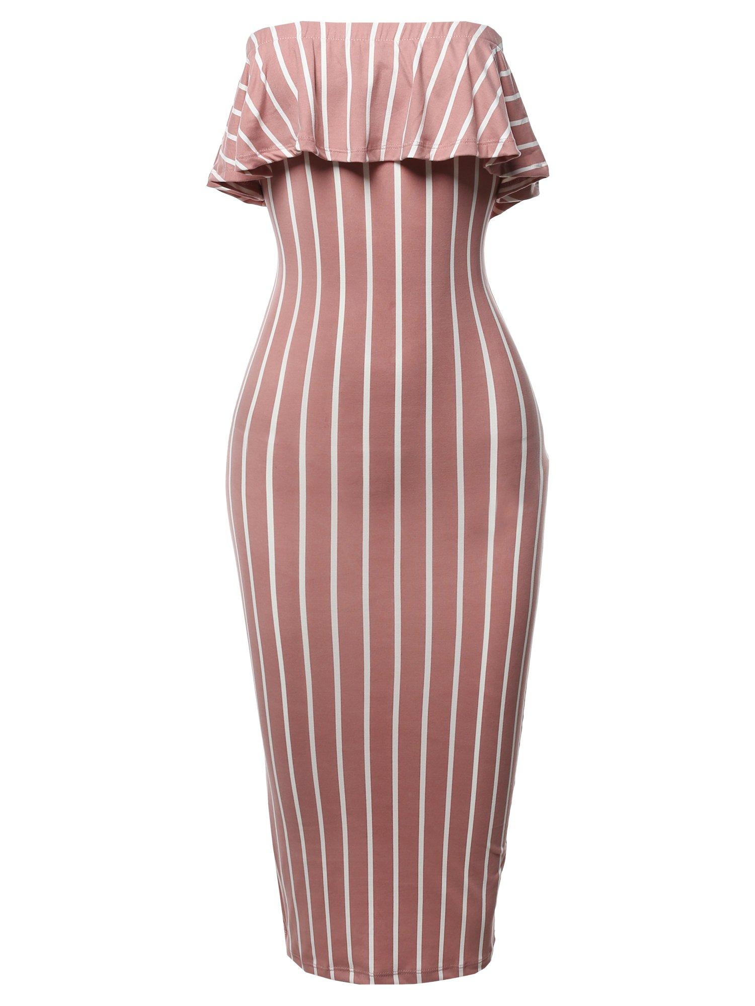 Slim Fit Off-Shoulder Pinstriped Crepe Tube Midi Dress Mauve L