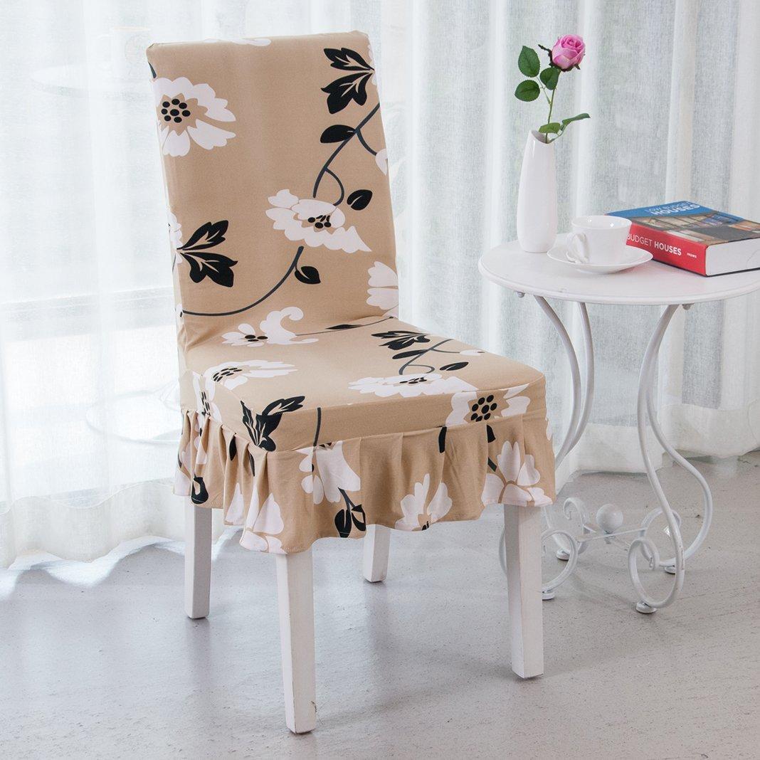 Moon mood/® Elasticizzato Morbido Copri Sedie Protezione in Stretch in Tessuto Coprisedie Stampa Modello Soft Chair Seat Covers Decoration 60cm x 40cm Copertura della Sedia Coprisedie con Schienale