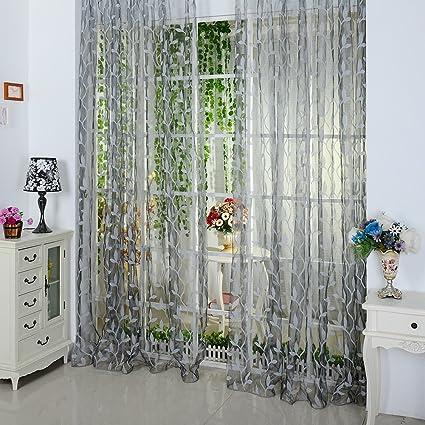 La Cabina Rideau Voilage Chambre Chic Leaf Type Tulle Porte Rideau de  Fenêtre 100*200 cm