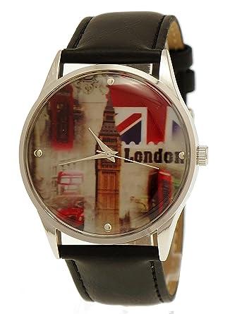NY London Unisex Hombre/Mujer Piel Reloj de Pulsera Negro Plata Incluye Caja para Relojes: Amazon.es: Relojes