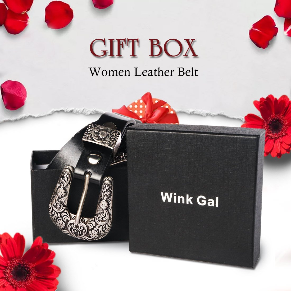 Wink Gal Women's Boho Metal Western Double Buckle Belt Sliver (Suit pants size 31''-34''(US size 12-16), Rivet Width Approx. 1'') by Wink Gal (Image #5)