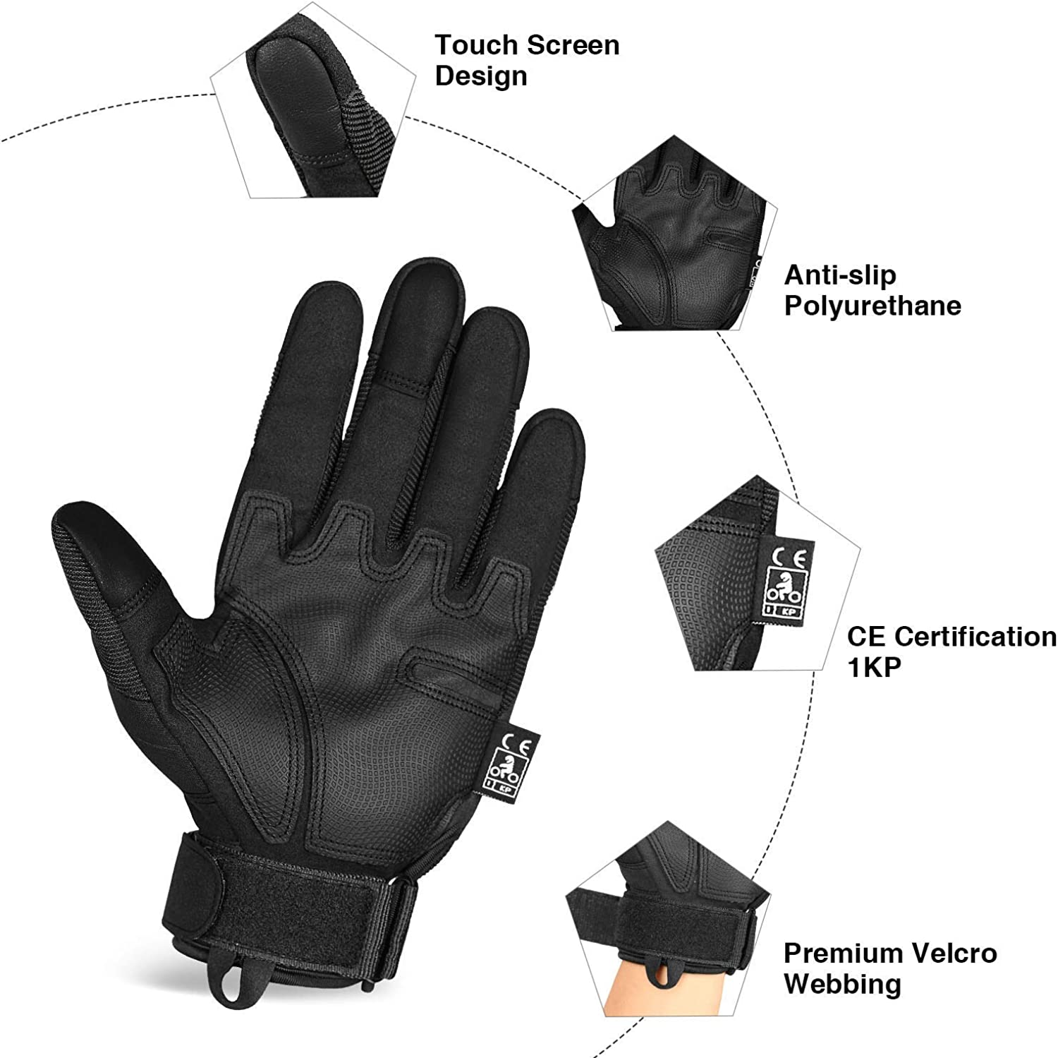 Unigear Men S Motorcycle Gloves Touchscreen Motorcycle Gloves With Hard Knuckle Lightweight Cycling Gloves Also Suitable For Paintball Airsoft Military Tactical Gloves Bekleidung